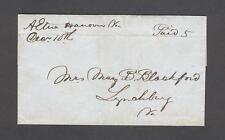 """Aetna Hanover Va. Decr 10th Paid 5"" 1840s wrapper to Mary Blackford, Lynchburg"