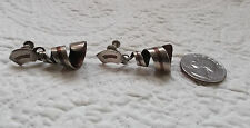 Pr of Vintage MEXICAN Sterling Silver and Copper Spiral Dangle Clip-On Earrings