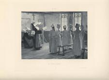 ANTIQUE NUN COSTUME HABIT YOUNG GIRLS SINGING CHANT CHURCH PIANO SONG ART PRINT