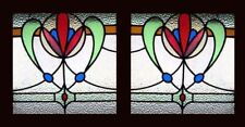 Fabulous Floral Pair Art Nouveau English Antique Stained Glass Windows