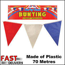 Red White Blue BUNTING 70 metre 230ft Olympic Pennant Flags GB UK Street Party