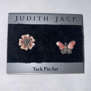 Vintage New JUDITH JACK tack pin set STERLING MARCASITE ENAMEL Butterfly Flower