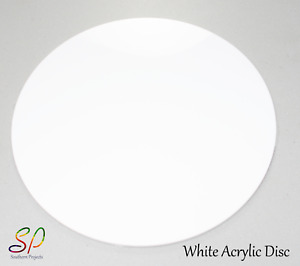 White Acrylic Disc With or Without Holes  3mm White Gloss Acrylic 100mm - 600mm