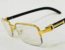 Men Clear Lens Eye Glasses Sophisticated Classy Elegant Gold & Wood Wooden Frame