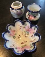 Vintage Hand Painted Porcelain Set Of 3 Beautiful Dish Vases Made In Japan