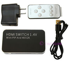 HDMI 4x1 Switch Splitter Hub iR Remote Picture in Picture 3D 4K 2K HDTV 1080P