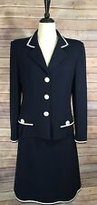 St. John Collection By Marie Gray Navy Suit Skirt Knit Size 10