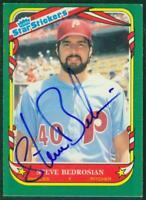 Original Autograph of Steve Bedrosian of the Phillies on a 1987 Fleer Sticker