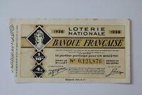 FRANCE LOTERY TICKET 1938 B20 BK138