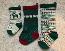 LOT Wool Knit Red Green Christmas Fair Isle  Stockings Holiday Handmade