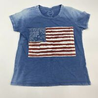 Lucky Brand T Shirt Women's Small Short Sleeve Blue Embroidered Flag Casual