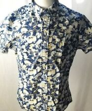Abercrombie & Fitch Men Size L Blue White Floral Short Sleeve Collared Shirt