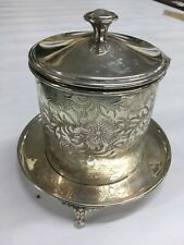 ANTIQUE ENGLISH SILVER PLATED FOOTED BISCUIT BARREL ENGRAVED FLORAL DESIGN
