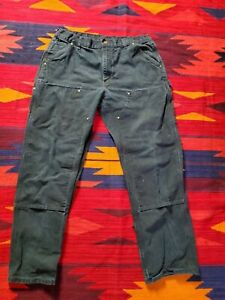 VTG 90's Carhartt Double Knee Black Dungaree Carpenter Loose Pants B01 USA 36x32