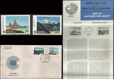 Commonwealth Day 1983 Omnibus Temple FDC Flder Hinduism Hindu India architecture