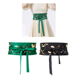 Elegant Women Embroidered Bow Tie Obi Belt Corset Sash Tie Wide Waistband