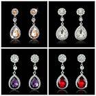 New Elegant 925 Silver Crystal Dangle Teardrop Earrings Wedding Women Jewelry