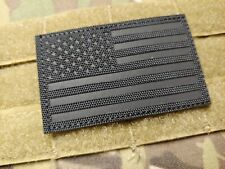 Stealth Black US Flag IR Reflective Patch  Tactical Hook Military Morale