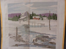 Vintage Needlepoint Winter Country Scene Landscape Farm