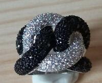 Bague luxe argent ruthénium femme mode chic serti zirconium saphir diamant