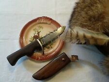 Vintage Antique Hand Forged Knife with Wooden Walnut Sheath