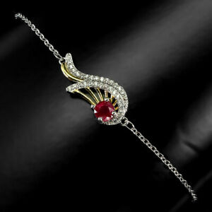 Natural Round Rich Red Pink Ruby 5mm White Cz 925 Sterling Silver Bracelet 8 Ins