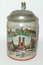 Old Souvenir Pitcher Greeting from Munich Beer Stein Jug Brewery Stone