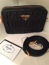 Prada Tessuto Gaufre Gauffre Nero Nylon Leather Bag Purse Crossbody Shoulder Bag