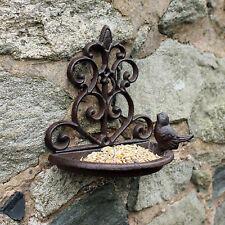 Garden Cast Iron Wall Mounted Small Bird Bath Feeder Shabby Vintage Chic Outdoor