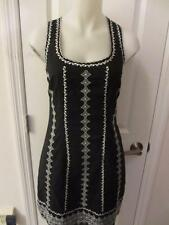 WOMENS BCBG MAX AZRIA BLACK,WHITE FLORAL SCOOP NECK SLEEVELESS DRESS SIZE 2