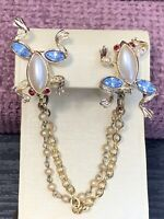 1950's Vintage Frog Rhinestone WOW Gold Tone  Sweater Chain Clip Scarf