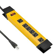 6 Outlet Heavy Duty Metal Power Strip Surge Protector with 6 Foot Extension Cord