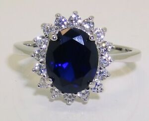 SILVER SAPPHIRE RING 925 STERLING BLUE DIAMOND DIANA KATE CLUSTER  LADIES SIZE P
