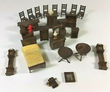 Large Lot of Vintage Wood Dollhouse Furniture Chairs Table Clock Bed Chest
