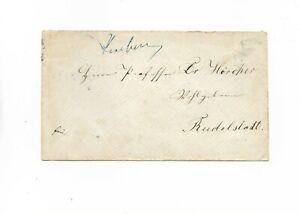 Preußen / Arnsberg handschriftl. blau vs. auf Brief nach Rudolstadt 1870