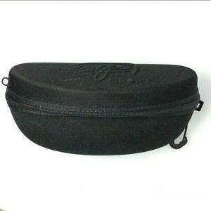 NEW MAUI JIM SPORT Zippered Zipper Black Sunglass Case Semi-Shell W / Snap Hook