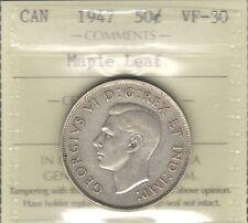 1947 ML Fifty Cents ICCS VF-30 VF-EF Scarce MAPLE LEAF George VI KEY Canada Half