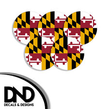 Maryland State Flag MD Circle Sticker USA Helmet Decal 5 Pack 2.5in
