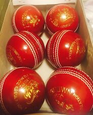 6 Red Cricket Ball - Leather Entirely Hand Stitched, 5.5oz For 50 Overs