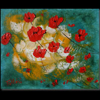 Red Poppies palette knife modern art original oil 8 x 10 inch by Fallini
