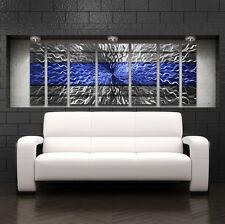 Large Blue Metal Wall Art Panels Modern Contemporary Abstract Sculpture Decor
