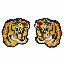 1 Pair Tiger Head Gucci Style Applique Badge Embroidered Iron on Patch
