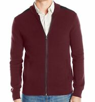 Kenneth Cole Reaction New Men's Mixed-Media Sweater Jacket, Merlot Red