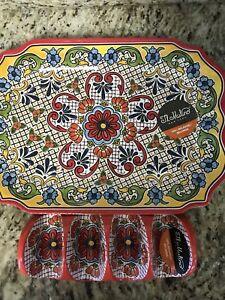 Il Mulino SPANISH Tile Medallion MELAMINE Tray Platter And Taco Holder