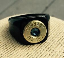 Hornady 303 British Bullet Casing Men's Black Steel Ring Size 14