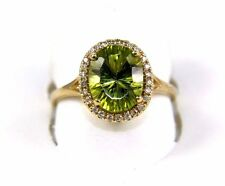 Fine Oval Green Peridot Solitaire Ring w/Diamond Halo 14k Yellow Gold 2.84Ct