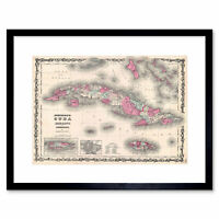 Map Antique 1862 Johnson Cuba Porto Rico Framed Art Print Picture Mount 12x16""