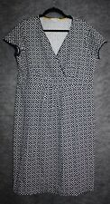 Boden Casual Jersey Wrap Dress US 14R Cotton Knit Navy Blue Mosaic