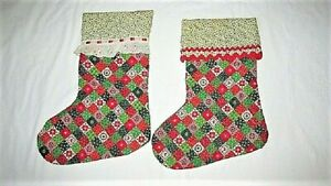 2 VTG HANDMADE QUILTED COTTON CHRISTMAS STOCKINGS RICK RACK LACE FARMHOUSE