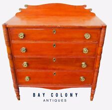 18Th C Antique Sheraton Pine & Maple Dresser / Chest